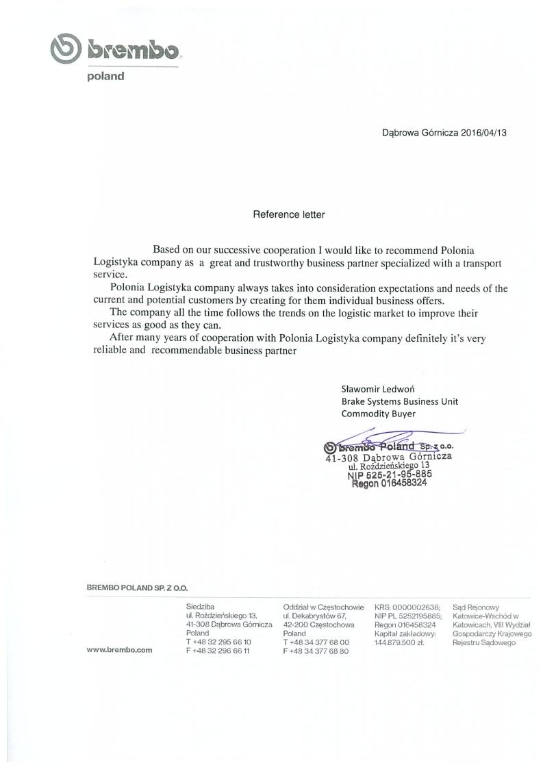 Refference letter - Brembo