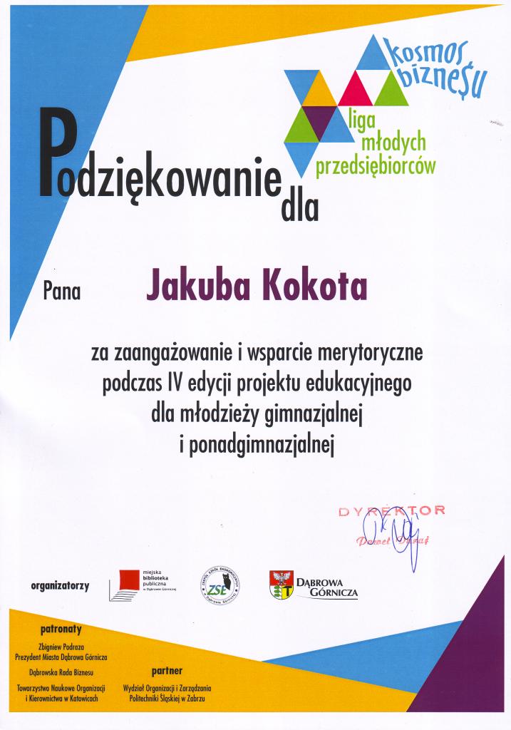 Podziękowanie_IV edycja projektu edukacyjnego_Jakub Kokot